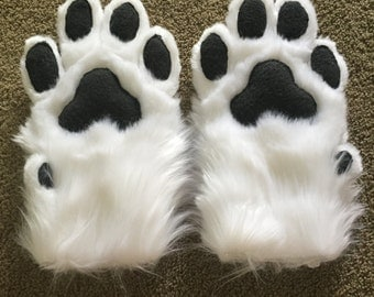 Realistic White Wolf Paws. Four-finger hand paws with dewclaws.