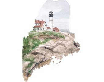 Maine Art Print - Unique Map Art Print - Maine Wall Art - Watercolor State Map Print - Portland Maine - Watercolor Lighthouse Art
