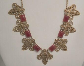 Vintage Deco Carnelian Glass Fleur De Lis Necklace