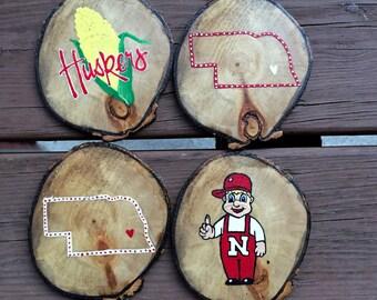 Nebraska Hand painted Aspen coasters