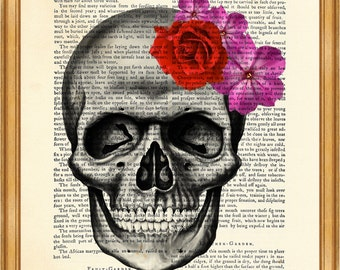 Skull With Flowers Skeleton DICTIONARY ART PRINT on Vintage Dictionary Page 8'' x 10'' from recycled encyclopedia