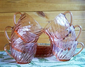 Set of six Arcoroc  Glass Cups and Saucers, Rosaline, France.
