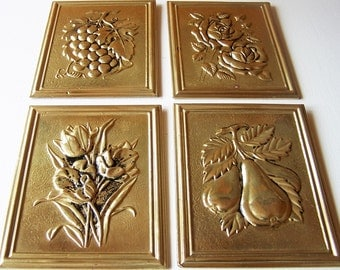 Vintage Brass Foil Wall Plaques, Peerage, Made in England, Grapes, Pears, Roses, Tulips.