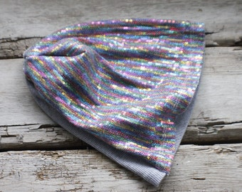 rainbow sequin hat, fun winter hat, slouchy hat, slouch, sequin hat, upcycled, gift, stretch, kids, adult, gift for her him