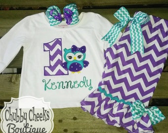 Purple and aqua owl first birthday outfit - baby girl - cake smash set - owl birthday