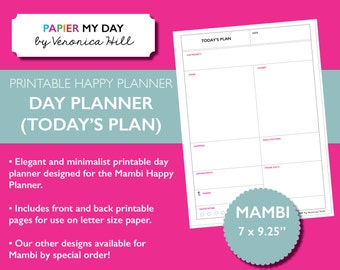 Happy Planner Printable Day Planner  - Daily Planner Designed for the Mambi Happy Planner