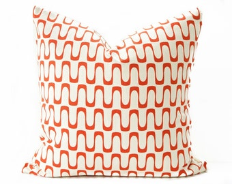 Mid-century modern pillow cover - Orange and Cream pillow - Organic pillow - Modern pillow - Barkcloth pillow - Retro pillow
