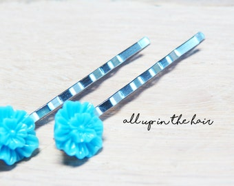 Light Blue Flower Hair Pins - Blue Flower Bobby Pins - Blue Mum Bobby Pins