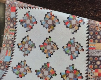 TWIRLING FANS Quilt Pattern by Color Girl Quilts - 2 sizes: Twin or Baby