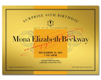 Champagne 5x7 Invitation - Gold Label - Birthday Party - Printable and Personalized