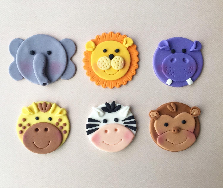 12 Jungle Animal Safari / Zoo Themed Fondant Cupcake Toppers