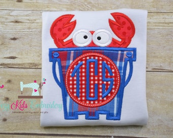 Crab shirt boy girl toddler baby infant appliqué embroidery custom monogram personalized name summer spring beach