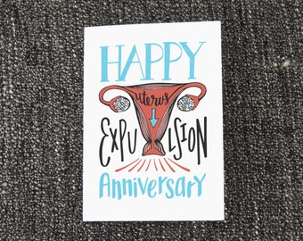 Happy Birthday Uterus Card - Funny Uterus Birthday Card, Uterus Expulsion Card, Humorous Birth Card