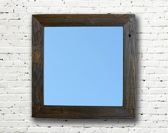 Reclaimed Wood Mirror. Rustic Mirror. Eco Friendly. Framed Mirror. Modern Mirror. Bathroom Mirror. Wooden Frame Mirror. Wedding Gift. 20x20