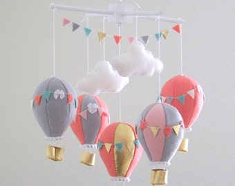 Coral hot air balloon mobile, hot air balloon mobile, baby mobile, nursery crib mobile, gold mobile, gray baby mobile , nursery decor, baby