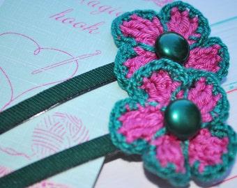Crochet Flowers Bobby Pins