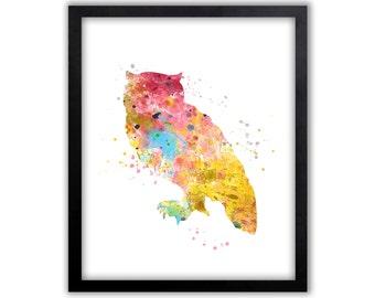 Owl Wall Art, Owl Watercolor, Nursery Wall Art , Limited Edition Art Print   Part 41