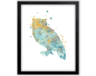 Owl Art, Owl Painting, Owl Wall Art, Contemporary Art, Limited Edition Art Print - WS24003P