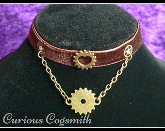 Velvet Steampunk Choker, Steampunk Necklace, Bronze Choker, Cog Choker, Cog Necklace, Steampunk Jewellery, Steampunk Jewelry, Cog Jewellery