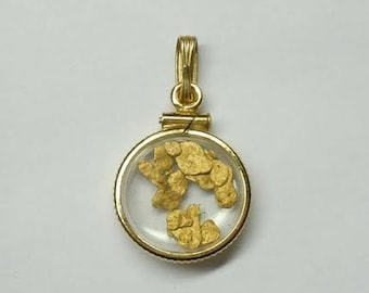 Floating 24kt Pure Gold Flakes Nuggets in a 1/20 10kt gold filled Bezel Set  Charm Pendant