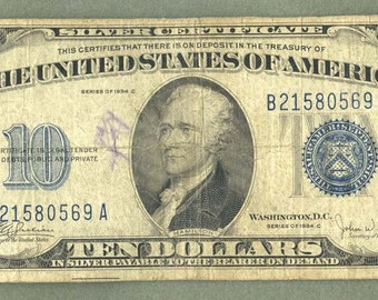 Ten Dollar 1934C Blue Seal USA SILVER CERTIFICATE Paper Money Bill Note Old Currency
