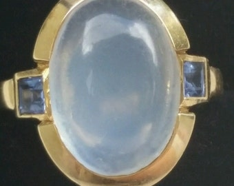 Vintage Tiffany & Co 14k Yellow Gold Moonstone and  Sapphire Ring
