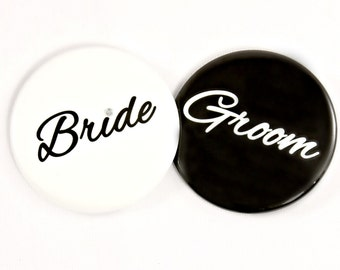 "Bride and Groom 2.25"" Pin Back Button. Wedding Button. Couples Shower. Bride Button. Groom Button. Wedding Photo Accessory."