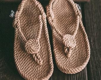 NEW Handmade Rope Sandal Medallion Camel