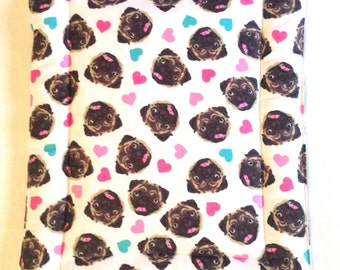 Pug, Dog crate pad, pug print, dog bed, bedding, crate mat, kennel pad, kennel bed