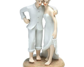 Couple Beach Wedding Cake Topper Choose Hair Color