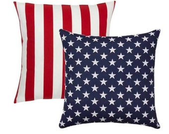 Outdoor American Flag Reversible Pillow Cover 18x18 20x20, Patriotic Pillow, Stars and Stripes Pillow, Red White and Blue, July 4th Decor,