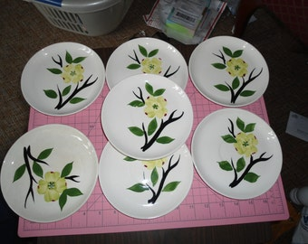 Vintage, Hand Painted, Ceramic Dishes, Pastel Pottery, Gift for Her, French Cottage, Cottage Chic, Vintage Stoneware, Decorative Plates,
