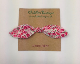 Two matching Handmade Liberty Tie hair bow, hair bobbles, hair tie pick you own fabric.
