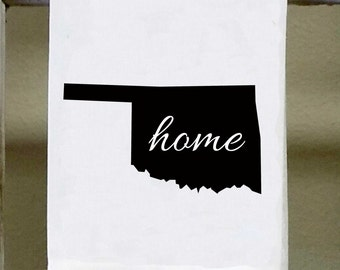 Home Oklahoma State Kitchen Towel, Dish Towel, white decorative , choose color from color chart