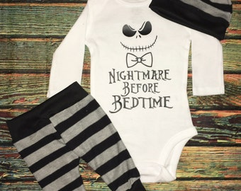 Custom Nightmare Before Bedtime Baby or Toddler Bodysuit Shirt Outfit