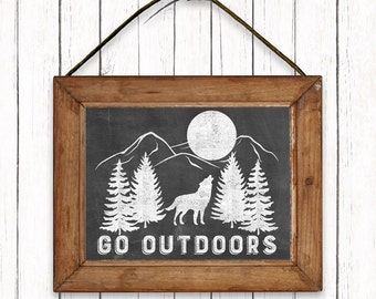 Go Outdoors Nature Printable Art Wolf Mountains Chalkboard Print Outdoors Wall Art Instant Download Digital File