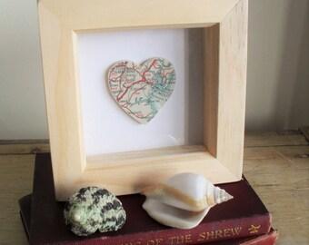 CORNWALL Heart Map Falmouth Camborne St.Just Vintage Map 3D ARTWORK Natural Wood Box Frame Coastal Decor Cornish Keepsake Frame Choice