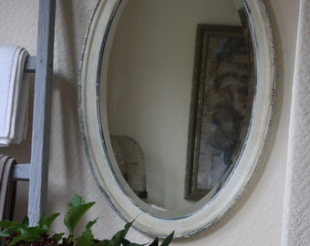 Large Painted Oval Mirror in Off White
