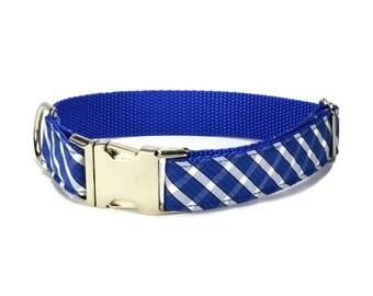 The Brooklyn Plaid Dog Collar, Blue Plaid Dog Collar, Royal Plaid Dog Collar, Preppy Dog Collar, Blue Dog Collar, Royal Blue Plaid Collar