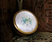 Brass Jewelry Box - Brass Jewellery Box - Embroidered Box - Floral Jewelry Box - Brass Trinket Stow - Brass Keepsake Box - 1970s Decor