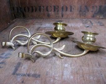 Candle Sconce - Brass Candle Holder - Vintage Sconce - Brass Sconce - Brass Candle Stick - Piano Candle - Shelf Candle - Antique Sconces
