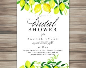 Watercolor Lemons Citrus Bridal Shower / Printable Bridal Shower Invitation/Bridal Shower Digital Files/Bridal Shower DIY Wedding