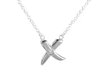 925 Sterling Silver CZ X-Factor Pendant Necklace 18 inches