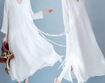 women linen long dress women embroidery dress women white dress women summer dress/BJDXGOCT05N155