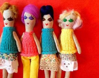 Mini Heirloom Doll, Art Doll, Cloth Doll