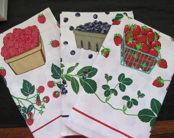 NOS Lillian Vernon - Three Dish Towels - Berry Designs