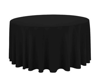 130 inch Round Black Tablecloth Polyester   Wedding Tablecloth