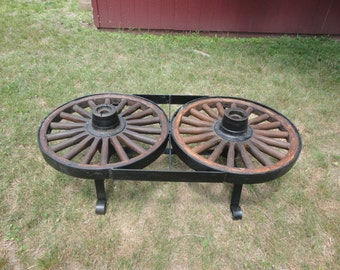 Double Wagon Wheel Coffee Table Vintage Heavy Rustic Antique Iron And Wood  Wheels With Iron Base Part 57