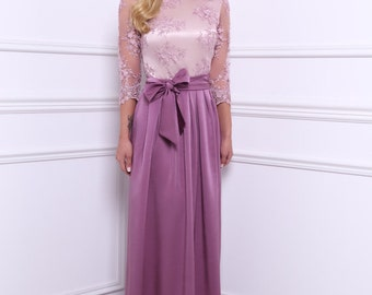 Dark Lilac Top Lace Maxi Elegant Women Dress Plunge 3/4 Sleeves