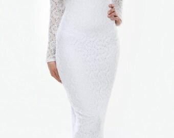 White Lace Wedding Bodycon Dress Round Neck Long Sleeves Train